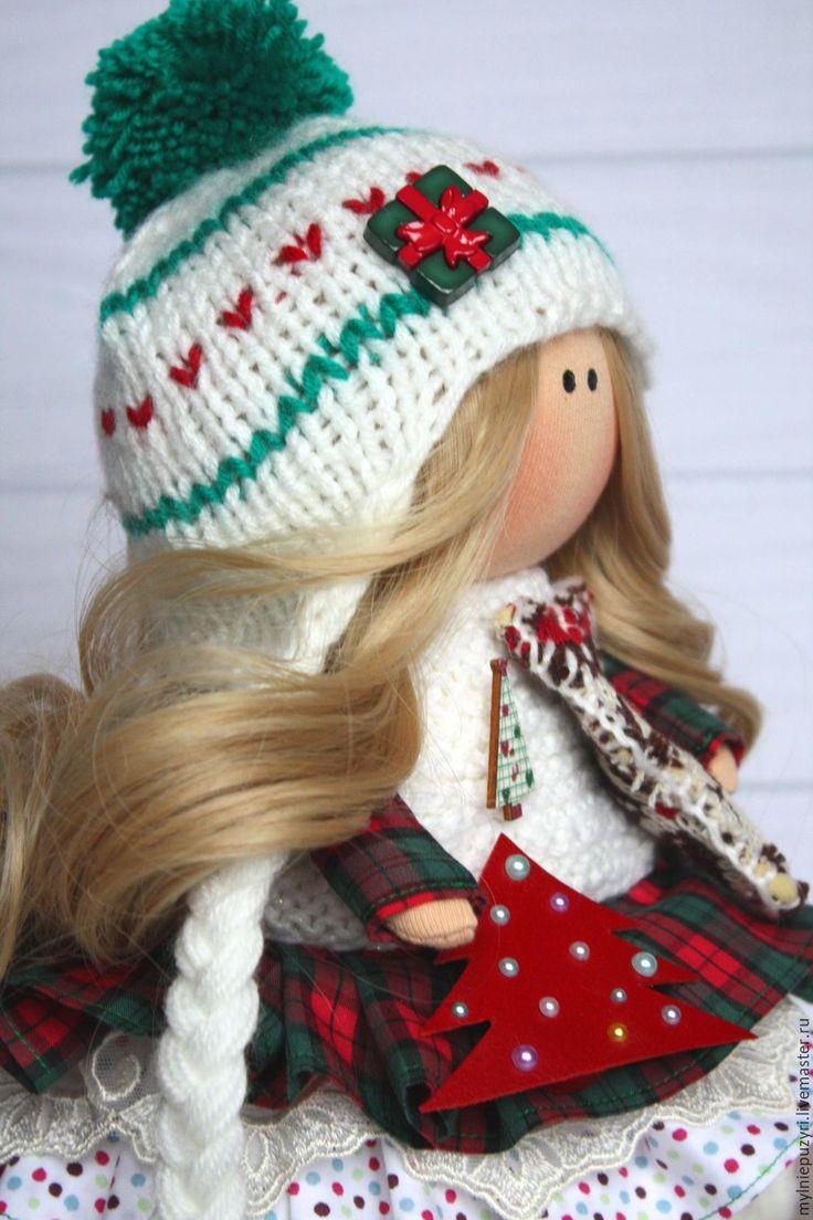 Новогодняя кнопочка - комбинированный, кукла ручной работы, кукла, кукла в подарок, кукла интерьерная