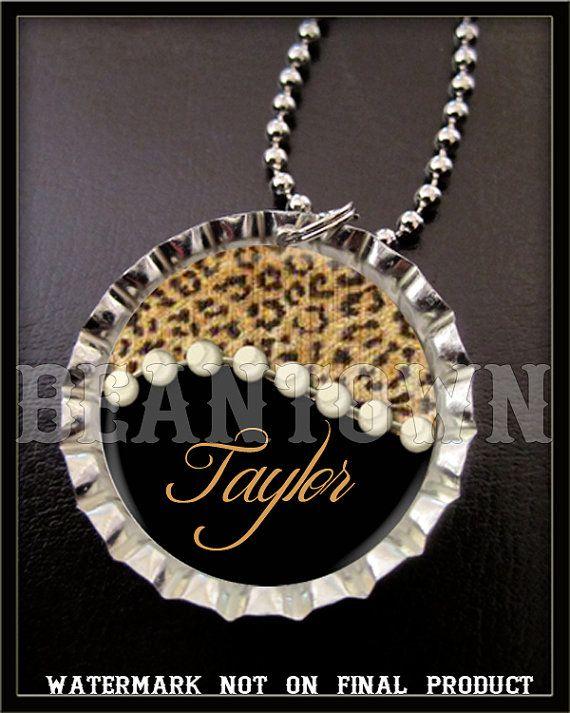 Personalizada leopardo perla tapa de botella con la opción del collar cremallera tire o llave de cadena anillo cumpleaños fiesta favores regalo personalizado
