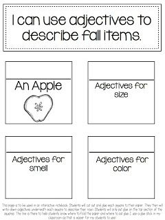 """""""Interactive Notebook"""" Activity Using Adjectives to Describe Apples (free; from A Day in First Grade)"""