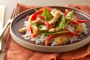 Firecracker Chicken Stir-Fry recipe..  With a kick of red pepper, this stir-fry sizzles with flavor and can fit a healthy eating plan. Maybe that's why so many readers make this for family dinner week after week.