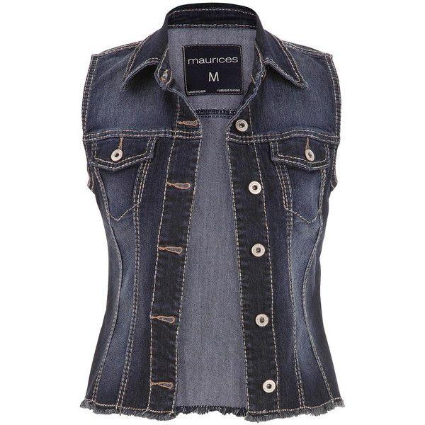 maurices Denim Vest In Dark Wash ($29) ❤ liked on Polyvore featuring outerwear, vests, tops, jackets, vest, dark sandblast, metallic vest, maurices, button vest and denim vest