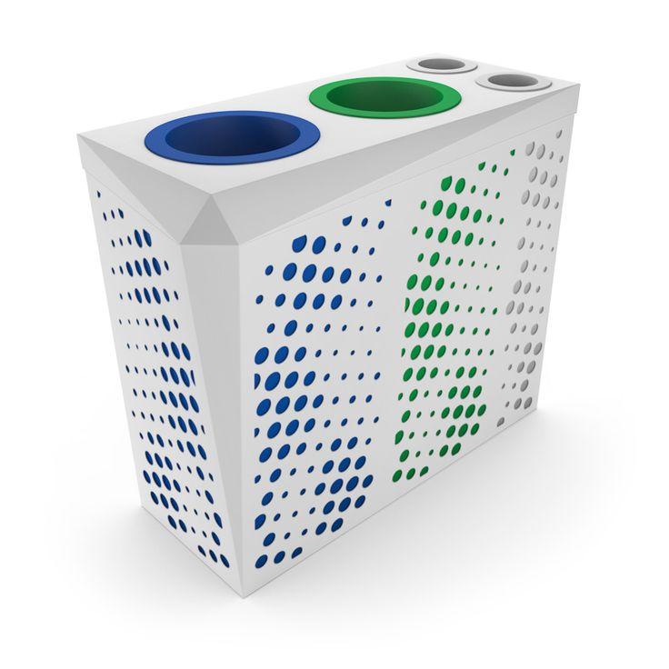 ATLANTIS Poste de recyclage pour bureau avec collecteur gobelets ou canettes, Blanc