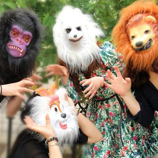 Halloween Animal Mask Monkey Tiger Rabbit Lion Wolf Face Decorations Full Face Mask Children's Adult Prank Mask Factory Outlets