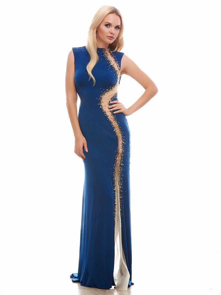 #sexydress #longdress / Seksowna, dopasowana suknia wieczorowa w morskim kolorze