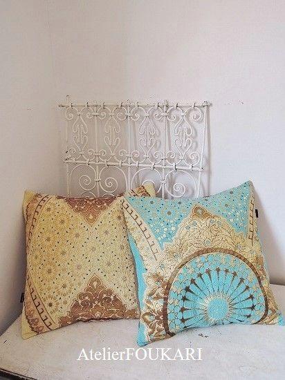 モロッコファブリック*クッションカバー*ロワイヤルパレ・ベージュ - モロッコ雑貨とモロッコファッション|Atelier FOUKARI