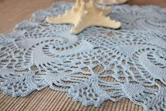 Blue crochet doily square doily crochet lace by BeautyByLuchka, $18.00