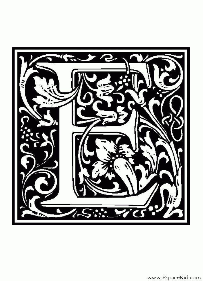 Coloriage Lettre E : coloriages Lettrine   Lettrine ...