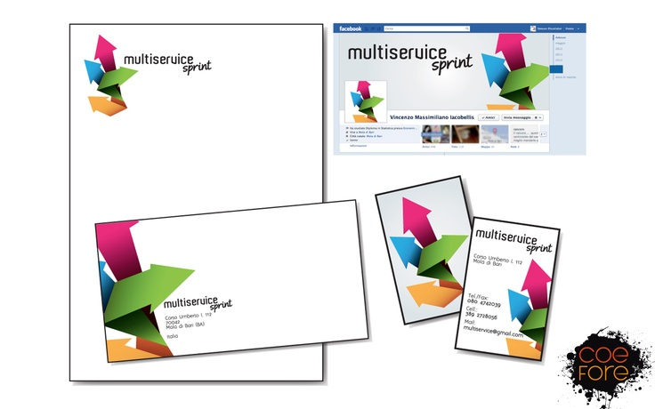 Coefore, logo, business card and facebook cover for Multiservice.