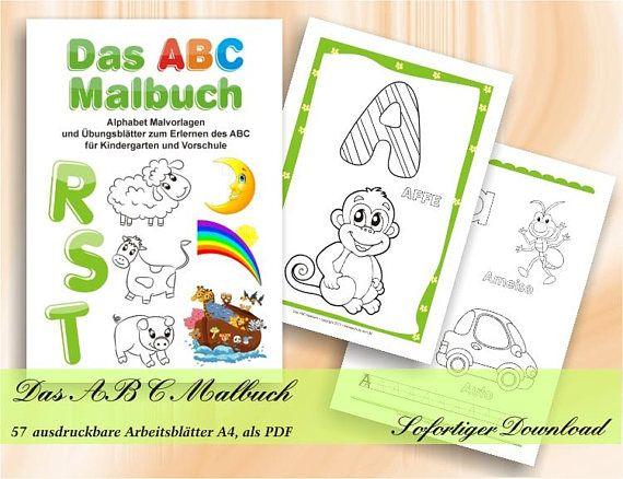 Das Abc Malbuch Alphabet Malvorlagen Und Ubungsblatter Zum Etsy Learning Alphabet Abc