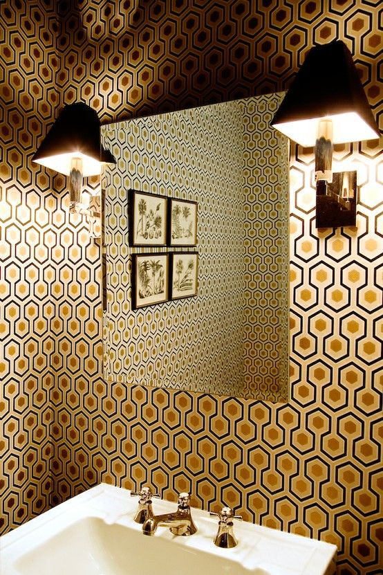 David Hicks Hexagon wallpaper. Designed 1960s, it would influence the set design of Stanley Kubrick's 1980 film The Shining (the hall carpet; look for it the next time you watch the film).