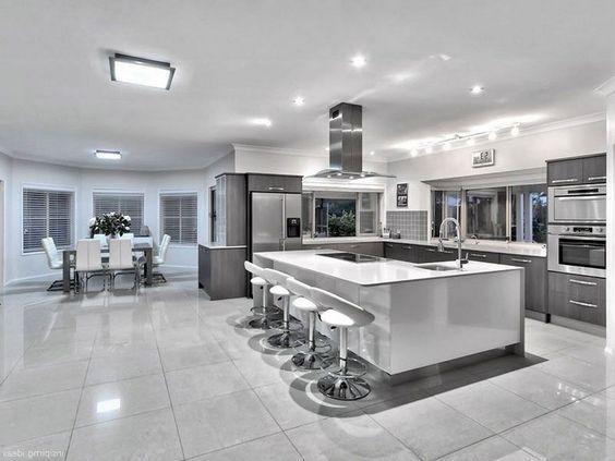 Amplia Cocina De Lujo Modern Kitchen Design Modern Kitchen Grey Kitchen Designs