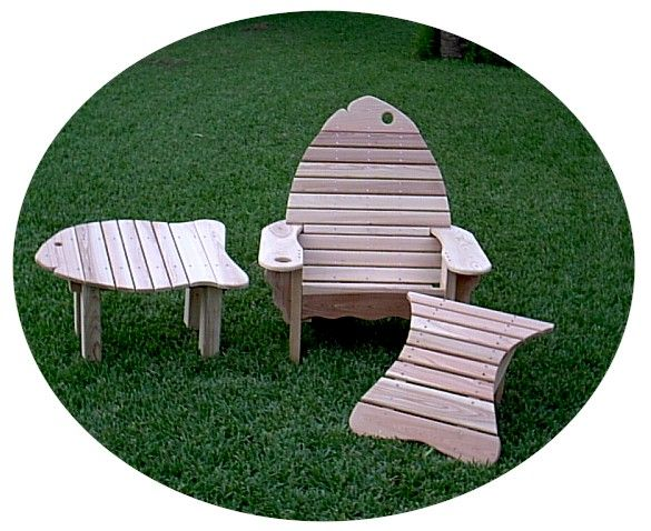 1 Fish Chair 1 Fish Ottoman 1 Fish Table 3 Pieces Total