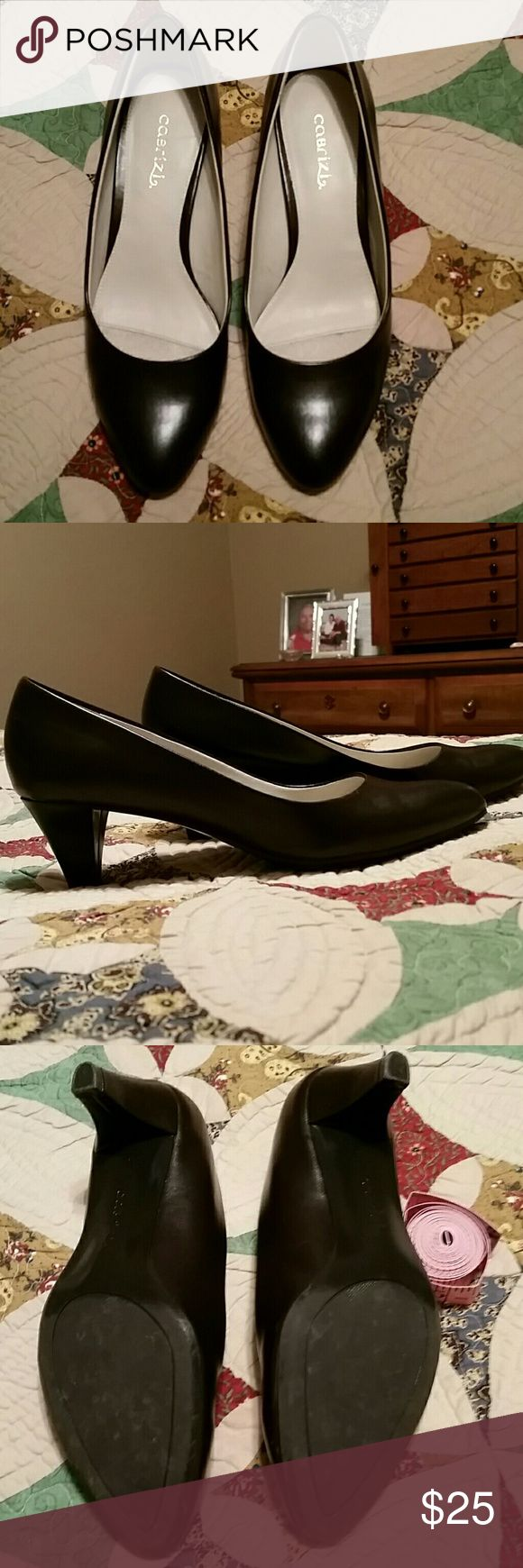 Ladies shoes Like new dark brown heels. Excellent condition.  1 3/4 inch heels. Faux leather. Cobrizi Shoes Heels