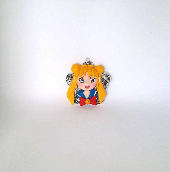 Sailor Moon Tsukino Usagi polymer clay necklace charm