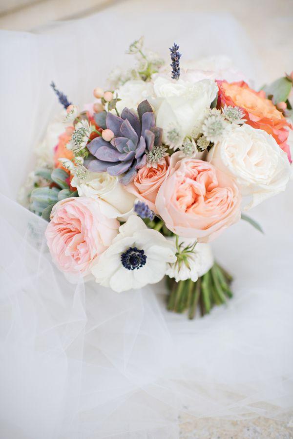 Anemone, garden rose and succulent wedding bouquet: http://www.stylemepretty.com/florida-weddings/winter-park-fl/2017/03/08/soccer-star-dax-mccarty-weds-college-sweetheart/ Photography: Kristen Weaver - http://www.kristenweaver.com/