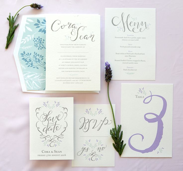 Calligraphy wedding invitation suite.  Grey with at touch of mint & lavender.  Printed on Cotton paper