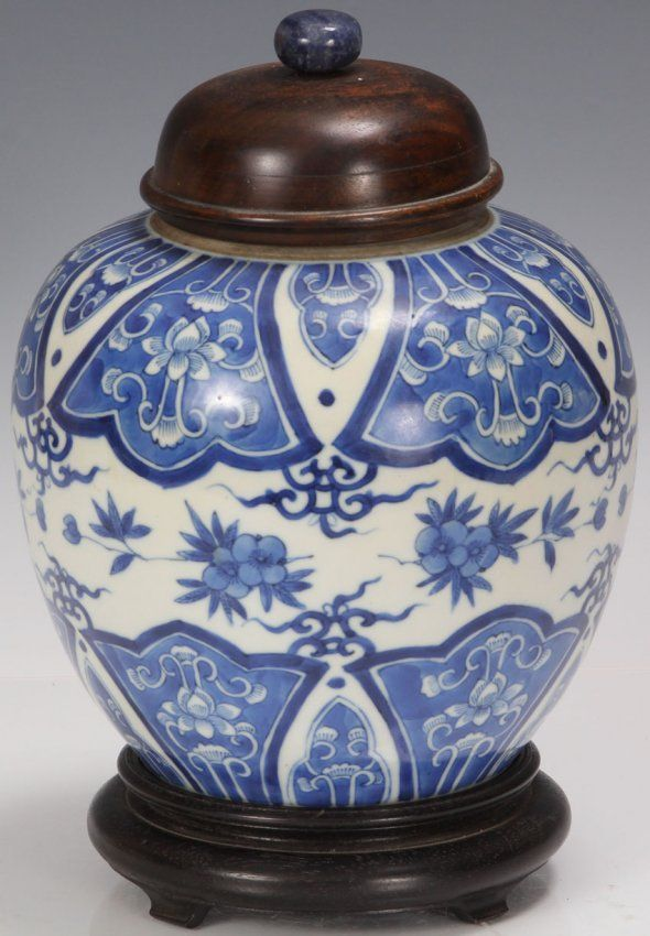 """QING DYNASTY CHINESE BLUE AND WHITE GINGER JAR Overall height with stand- 9 3/4"""" Condition: replaced top"""