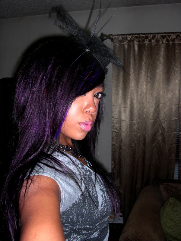 purple hair dye over black manic