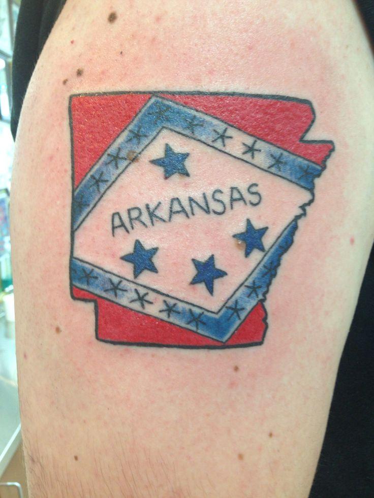 Arkansas state tattoo by Nancy Miller at Main Street Tattoo.