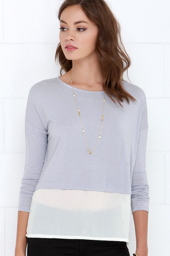 Half We Met? Grey Long Sleeve Top at Lulus.com!