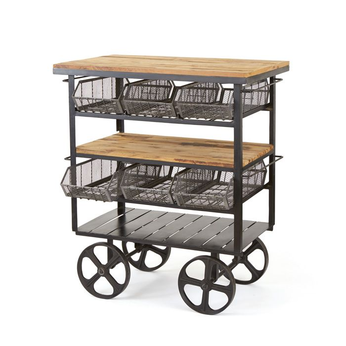 Our Industrial Deli Cart would make a great portable home bar or coffee bar!  Dimensions: 47.5″ L x 31″ W x 56″ H Material: Iron and Wood