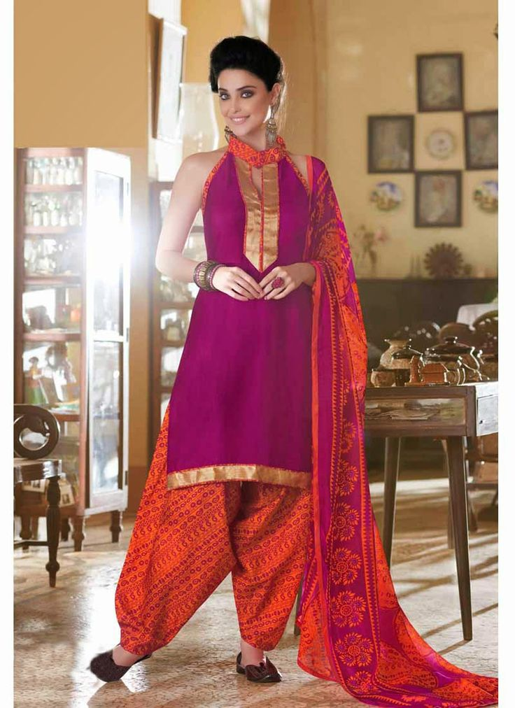 Deep Pink Cotton Panjabi Salwar Suit
