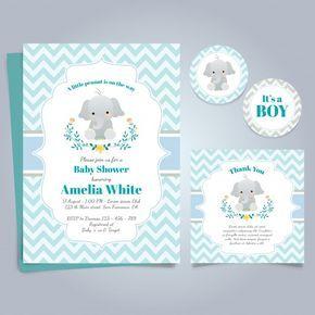 Tarjeta azul para la fiesta del bebé con un lindo elefante Vector Gratis