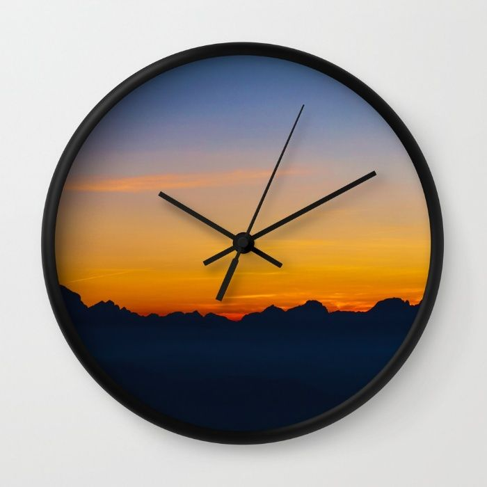 Wispy Mountain Glow Wall Clock by Mixed Imagery | Society6