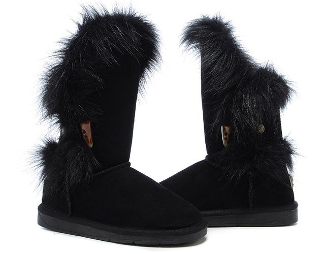 UGG 5531 Fox Fur High-low Top Classic Short - Black - Womens Boots