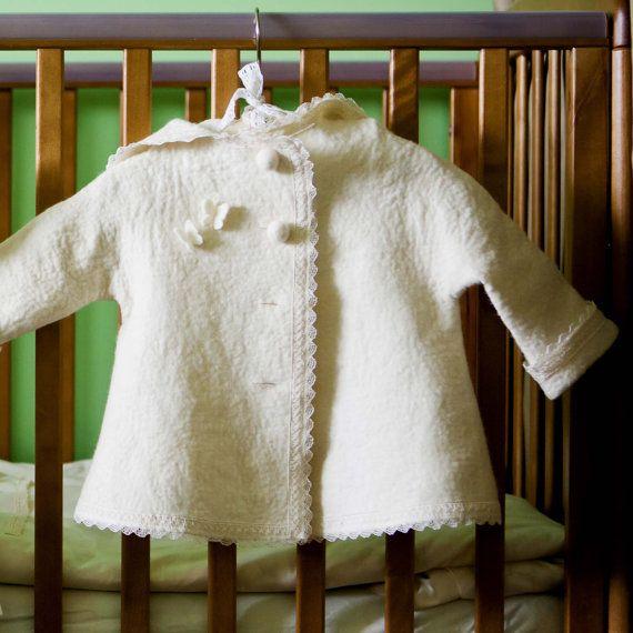 Felted baby jacket white- Christening jacket - christening outfit - girl Baptism clothes. I have made this white felted christening outfit for your
