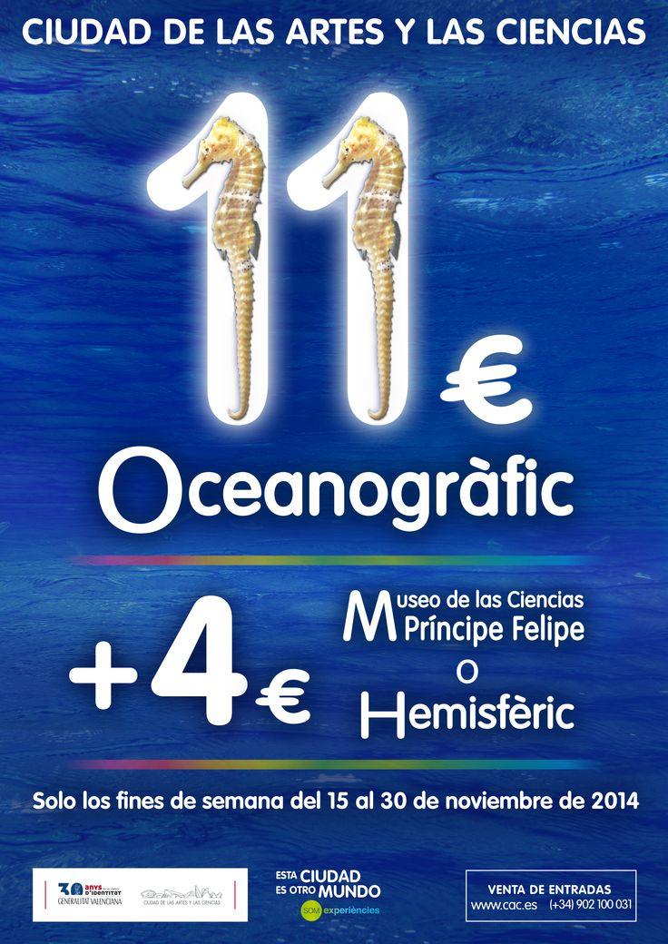 PROMOCIÓN: Oceanogràfic a 11€, Museo o Hemis a 4€ (con la compra de entrada Oceanogràfic). Solo fines de semana del 15 al 30 de noviembre de 2014.