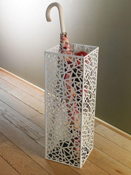White Umbrella Rack Stand Storage Organizer Durable Entryway Home Modern Decor