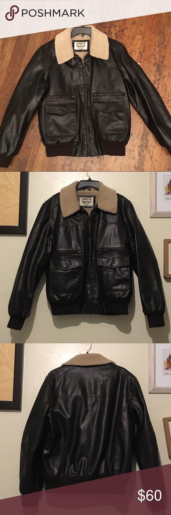 Men's Levi's Faux Leather Jacket  Men's Levi's Faux Leather Jacket, Size L  Super soft & warm inside, 4 exterior pockets, and 1 inside jacket pocket. The color is a dark chocolate brown. Levi's Jackets & Coats