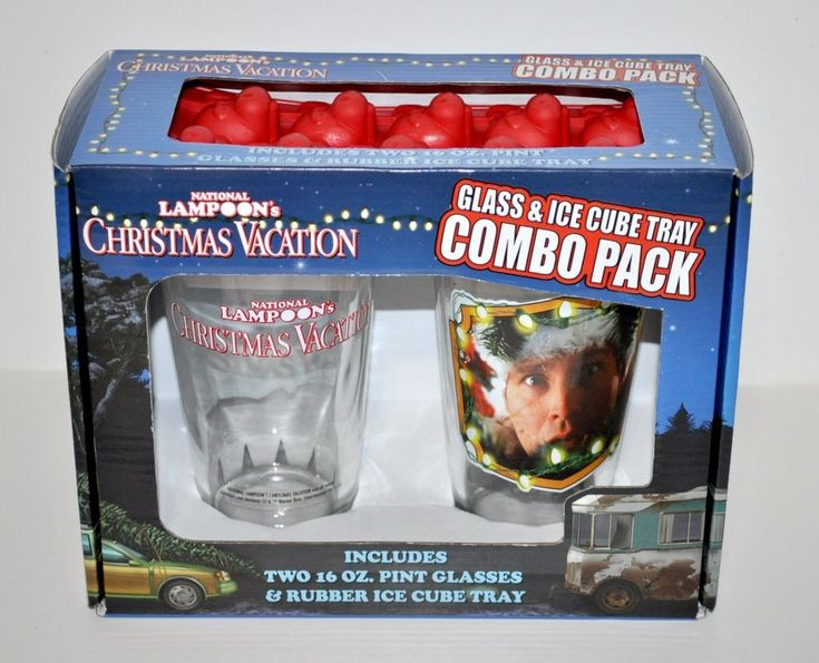 """Nobody does Christmas quite like the Griswolds. pint glasses along with a rubber ice cube tray featurning images that capture the craziness of National Lampoon's Christmas vacation (this combo includes a """"Marty Moose"""" rubber ice cube tray)! 