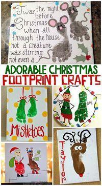 Adorable Christmas Footprint Crafts for Kids. Footprint reindeer, mistletoes... even a footprint Santa.