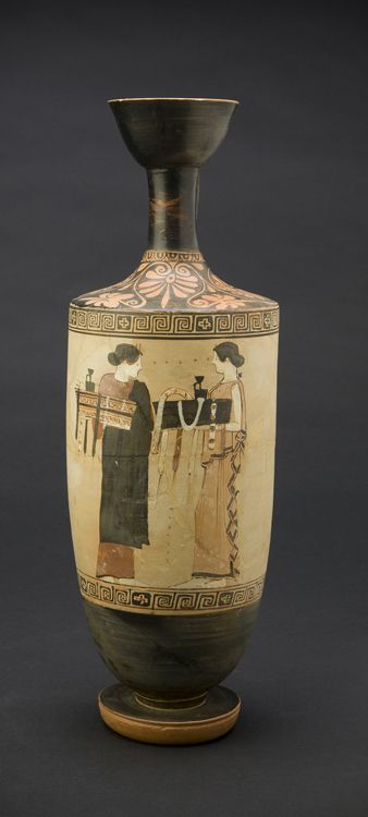 Timokrates Painter (near) (Greek, Attic, active ca. 470-ca. 460 B.C.) White-Ground Lekythos ca. 460 B.C. Hellenistic period Earthenware with painted slip decoration in white-ground manner