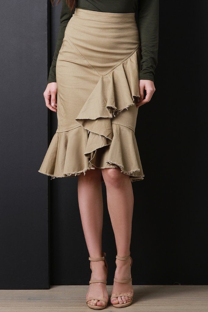 5e48e55f6c Cascading Raw Edge Ruffle Khaki Skirt | 2018 Fall/Early Spring looks ...