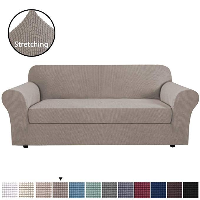 Sure Fit Stretch Pique Individual Box 2 Cushion Sofa Slipcover