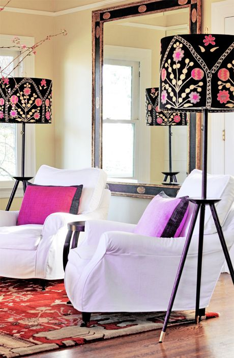 Portland Heights Lamps. Love them. Don't get why they're pairing them with those hideous pillows and the mismatching rug...
