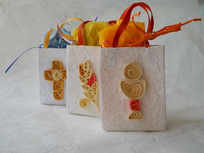 Bomboniere/portaconfetti per le comunioni, con decorazione quilling