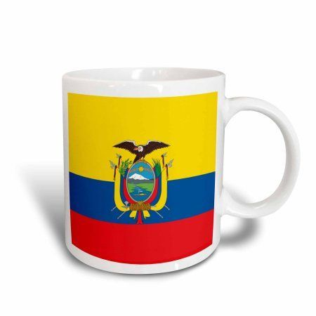 3dRose Flag of Ecuador - South America American - Ecuadorian yellow blue red - condor bird coat of arms, Ceramic Mug, 15-ounce