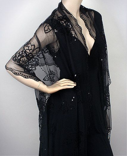 Black Fashion Evening Shawl Flower Embellished Sweetness
