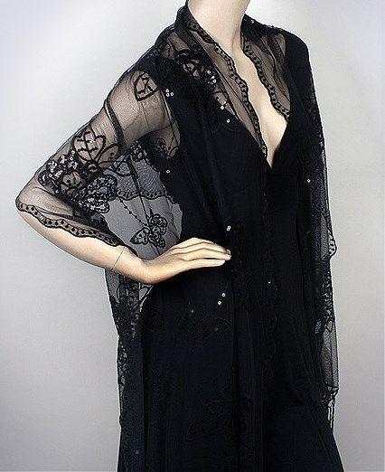 Black Fashion Evening Shawl Flower Embellished Sweetness