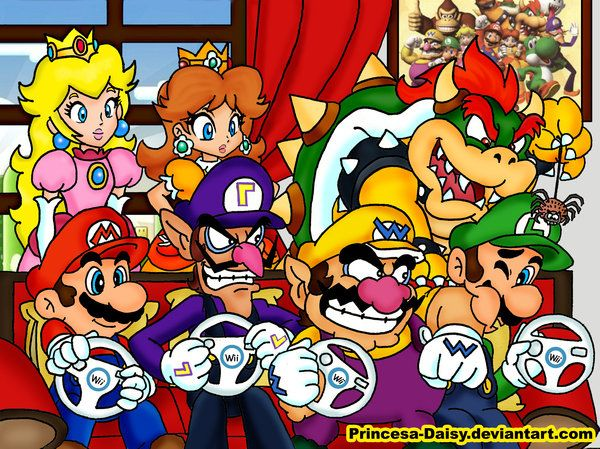 Mario Bros Playing Mario Kart ;-) Well this is interesting! XD