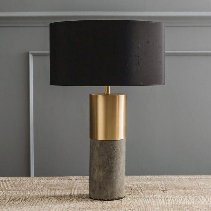 Concrete & Brass Lamp - Table Lamps - Lighting - Lighting & Mirrors
