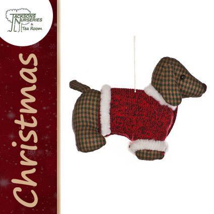 Buy Fabric Sausage Dog Christmas Decoration online at Jacksons Nurseries