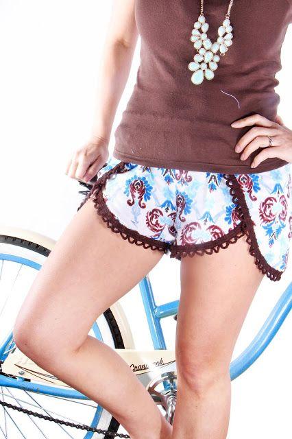 Pinwheel Shorts Free Pattern in Cobalt Damask