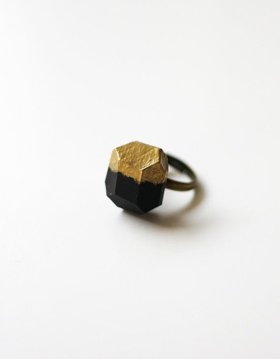 gold dipped black geo ring #ammjewelry #ring #gold #brass #etsy