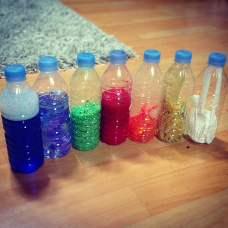 Image result for botellas con arroz , judia y pasta dentro