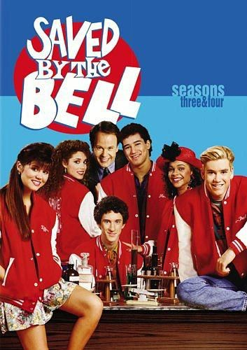 Saved By The Bell cast - Kelly, Lisa, Mr. Belding, Slater, Jessie, Zack and Screech.
